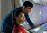 Zoe Saldana and Zachary Quinto in Star Trek Into Darkness.