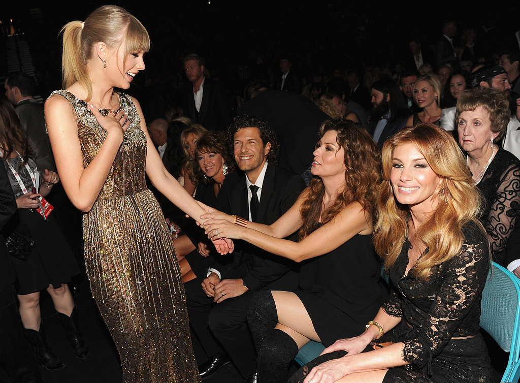Taylor Swift chatted with Shania Twain at the ACM Awards.