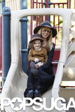 Rachel Zoe took Skyler Berman down the slide at an LA park in April 2013.