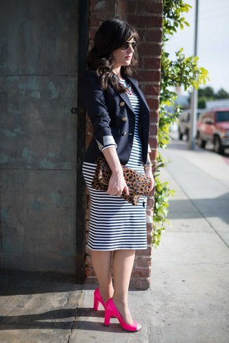 Navy Stripes and Animal Print
