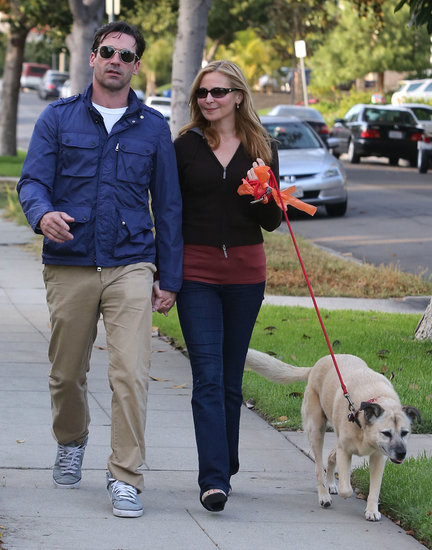 Jon Hamm and Jennifer Westfeldt walked their dog.