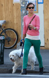 Olivia Wilde wore a bright pink sweater and green trousers while walking her dog in NYC.