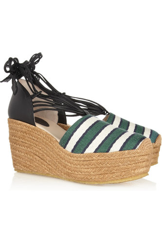Chloé Striped Canvas and Leather Espadrilles ($495)