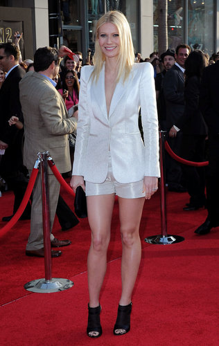 For the Iron Man 2 LA premiere, Gwyneth went menswear-inspired in a sheen Giorgio Armani shorts suit and black peep-toe Gianvito Rossi booties.