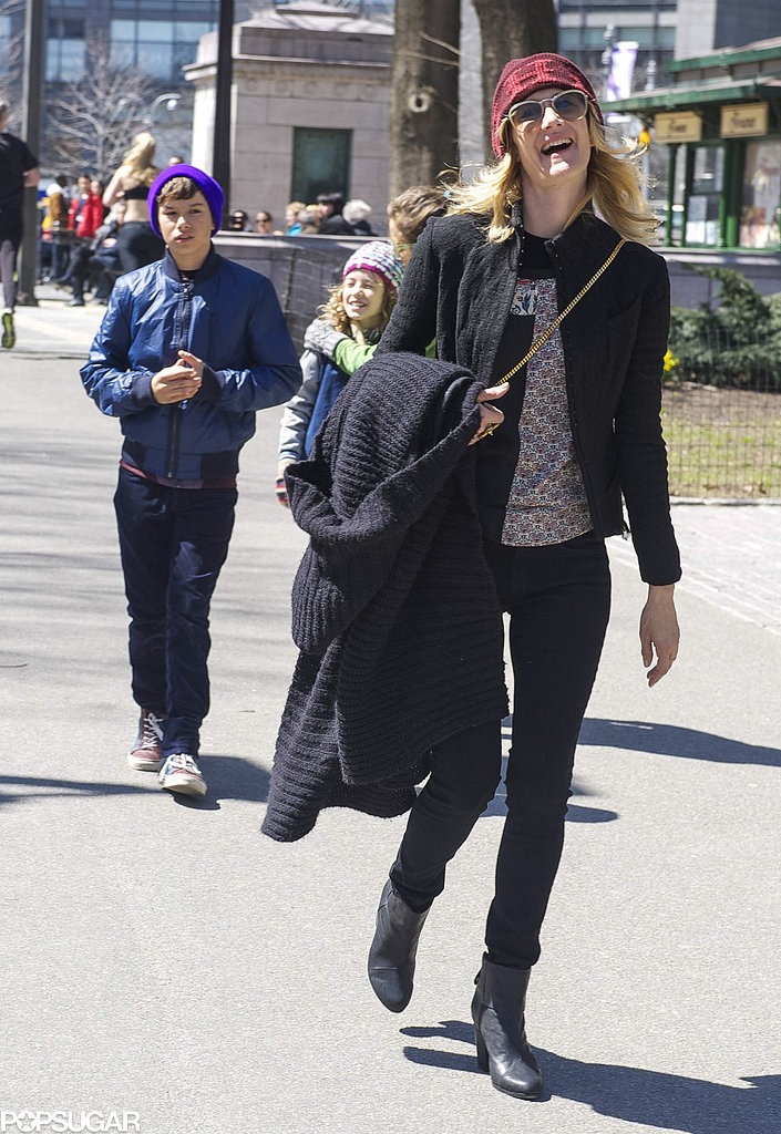 Laura Dern celebrated the rerelease of Jurassic Park with her kids, Ellery Walker Harper and Jaya Harper, in NYC.