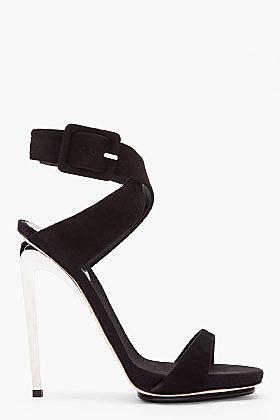GIUSEPPE ZANOTTI Black suede and silver Alien 115 Heels