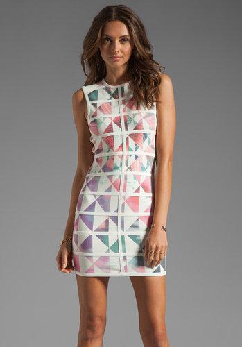Talulah White Love High Neck Body-Con Mini Dress in Geometric Floral Print/White Bind