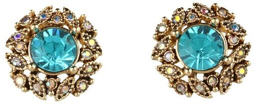 Betsey Johnson - Blue Lagoon Teal Gem Stud Earrings (Teal/Antique Gold) - Jewelry