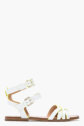 BELLE SIGERSON MORRISON White and fluorescent green Criss Cross Flat Sandal