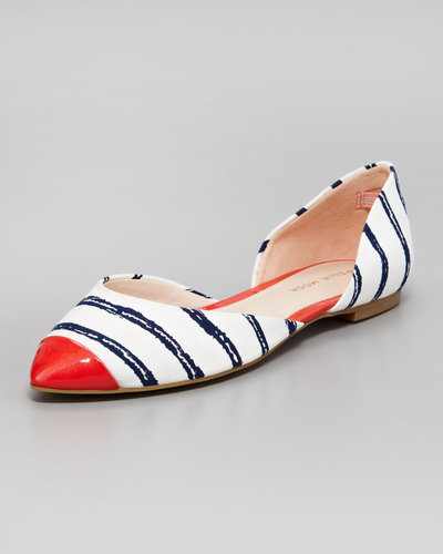Pelle Moda Brice Striped Cap-Toe Flat