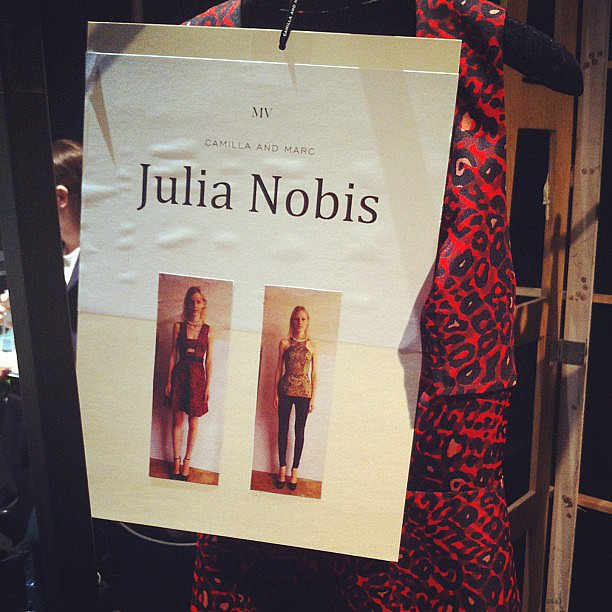 Julia Nobis' outfits were all lined up, ready for her to kick of Camilla and Marc's show this morning. Source: Instagram user russhmagazine