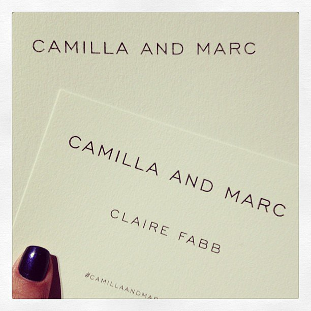 Claire Fabb from Style By Yellow Button gave us a shot of her Camilla and Marc invite minutes before the show started this morning. Source: Instagram user stylebyyellowbutton