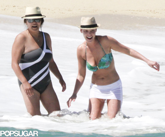 Bikini-clad Katherine Heigl was joined by her sister, Meg Heigl, for a dip in the water in Cabo.