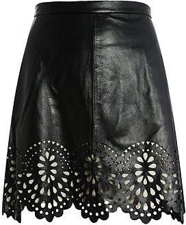 Lover Laser-cut leather skirt
