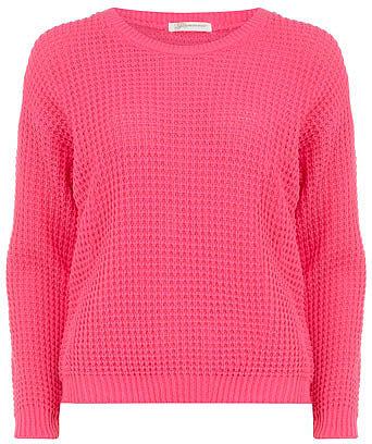 Flouro pink fisherman knit jumper