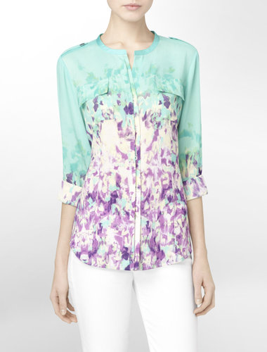 Floral Print Mandarin Collar Roll-Up Blouse