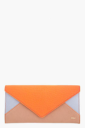 CHLOE Bright Coral Colorblocked Leather Wallet