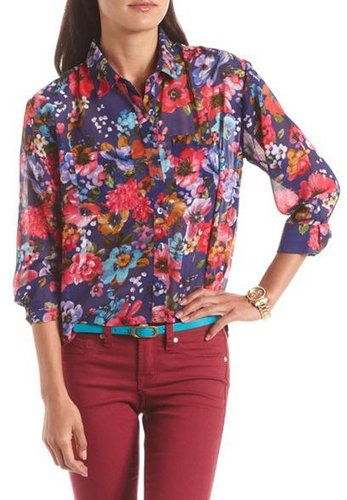 Floral Hi-Low Button-Down Blouse
