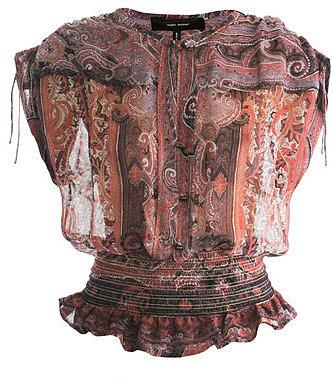Isabel Marant Paisley-print gathered waist blouse
