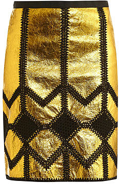 Derek Lam Metallic leather and crochet pencil skirt
