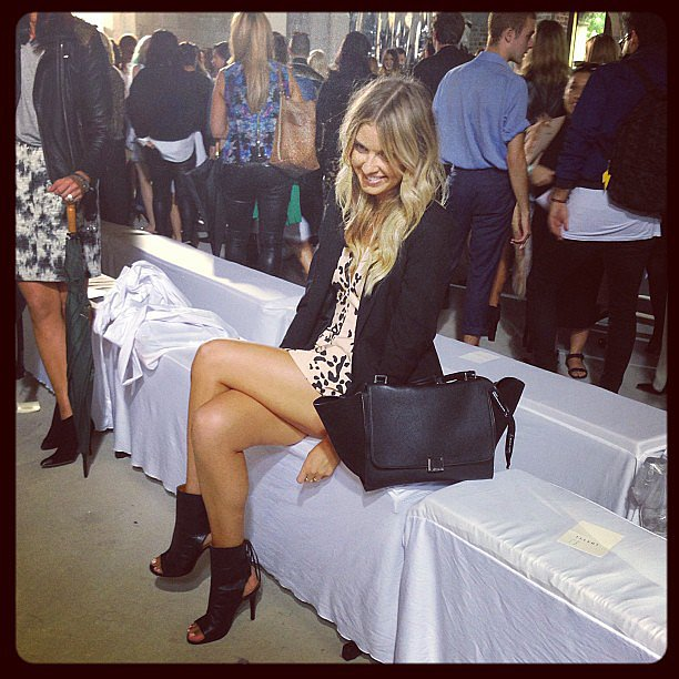 Elle Ferguson was sitting pretty as she waited for Ellery to start. Source: Instagram user sweatybettypr