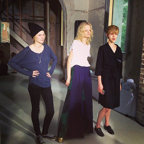 The trifecta! Models Julia Nobis, Hanna Gaby Odiele and Ruby-Jean Wilson faced the photographers before Ellery's show. Source: Instagram user oystermagazine