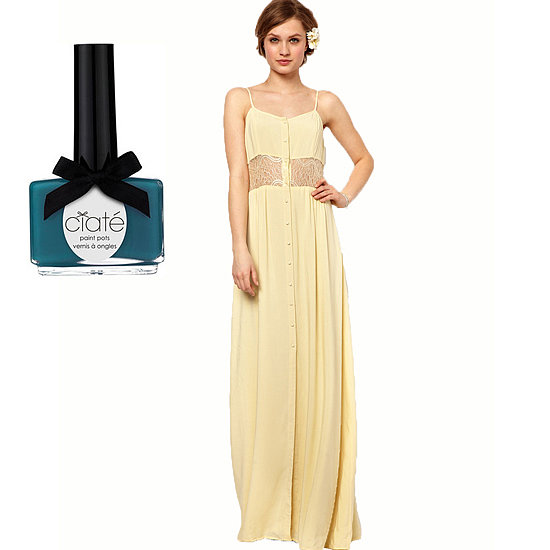 If your bridesmaid dress has some color and flair, like Jarlo's Maxi Dress ($125), punch it up with an equally vibrant shade, like Ciaté's Headliner Polish Pot ($15) for a nice contrast.