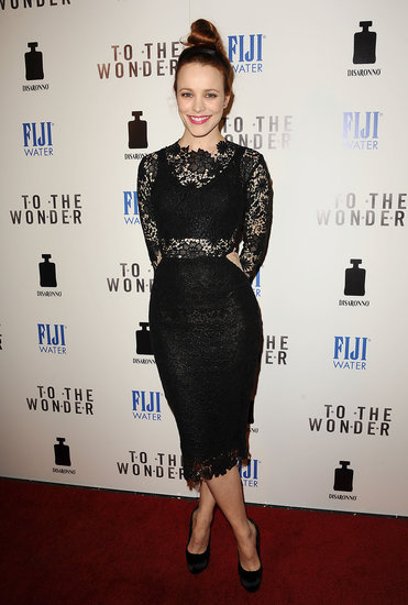 Rachel McAdams wore a lace dress.
