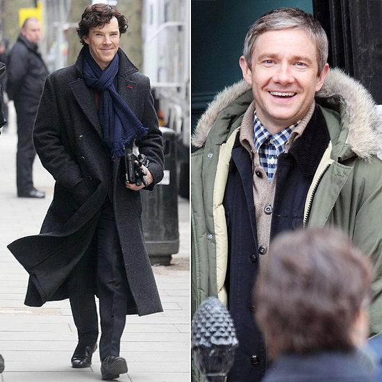 Benedict and Martin on the Set of Sherlock Season 3