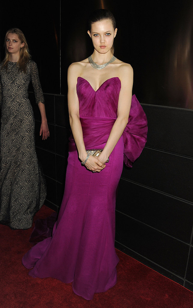 Model Lindsey Wixson chose a fuchsia-hued sweetheart gown, complete with a bold bow at the waist.