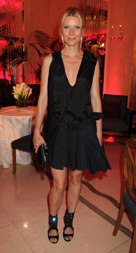Gwyneth was perfectly poised in a structured Lanvin confection and glistening cutout sandals at the Diane von Furstenberg and Claridge's launch party in London.