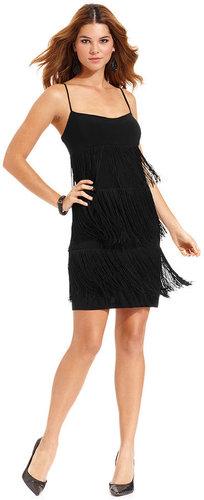 Onyx Dress, Spaghetti-Strap Fringe Cocktail Dress