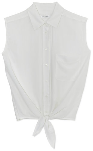 Bright White Diem Tie Front Blouse