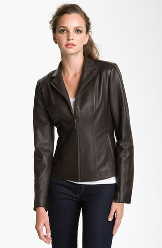 Cole Haan Notch Collar Lambskin Leather Jacket