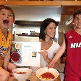 Jessica Seinfeld tried out a recipe from her upcoming cookbook with her sons. Source: Instagram user jessseinfeld