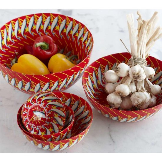 Brighten up your tablescape with these decorative bowls ($24, originally $98) made from repurposed sardine wrappers.