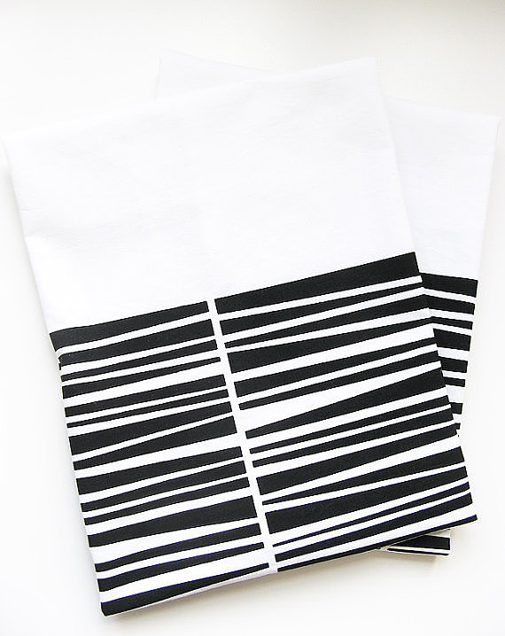 Add modern lines to your kitchen with these organic cotton tea towels ($17).