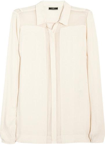 By Malene Birger Chiffon-trimmed crepe shirt
