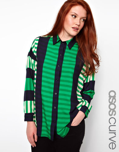 ASOS CURVE Shirt In Cut About Stripe