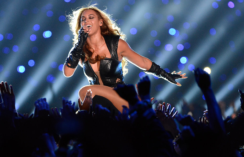 Beyoncé performing at Super Bowl XLVII.