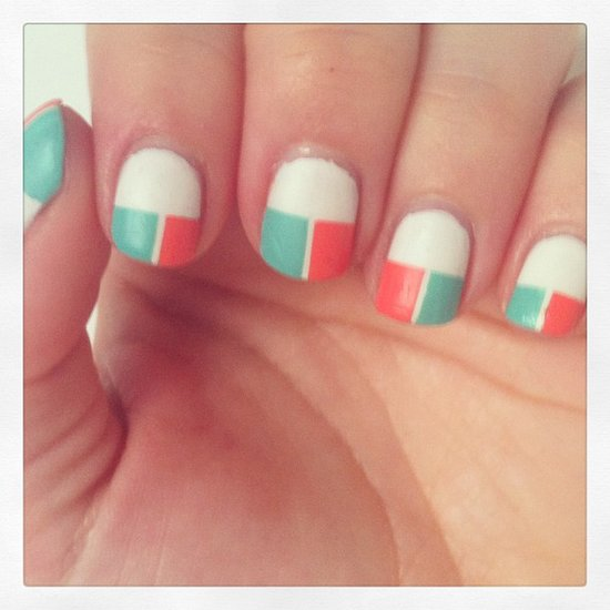 A geometric manicure in bright, punchy colors is a great option for Spring. Source: Instagram user ducky_npa