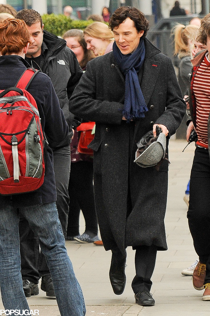 Benedict Cumberbatch was in London on Wednesday shooting scenes for the Sherlock BBC series.