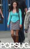 Reese Witherspoon showed off her darker hair on the set of her film The Good Lie in Atlanta.