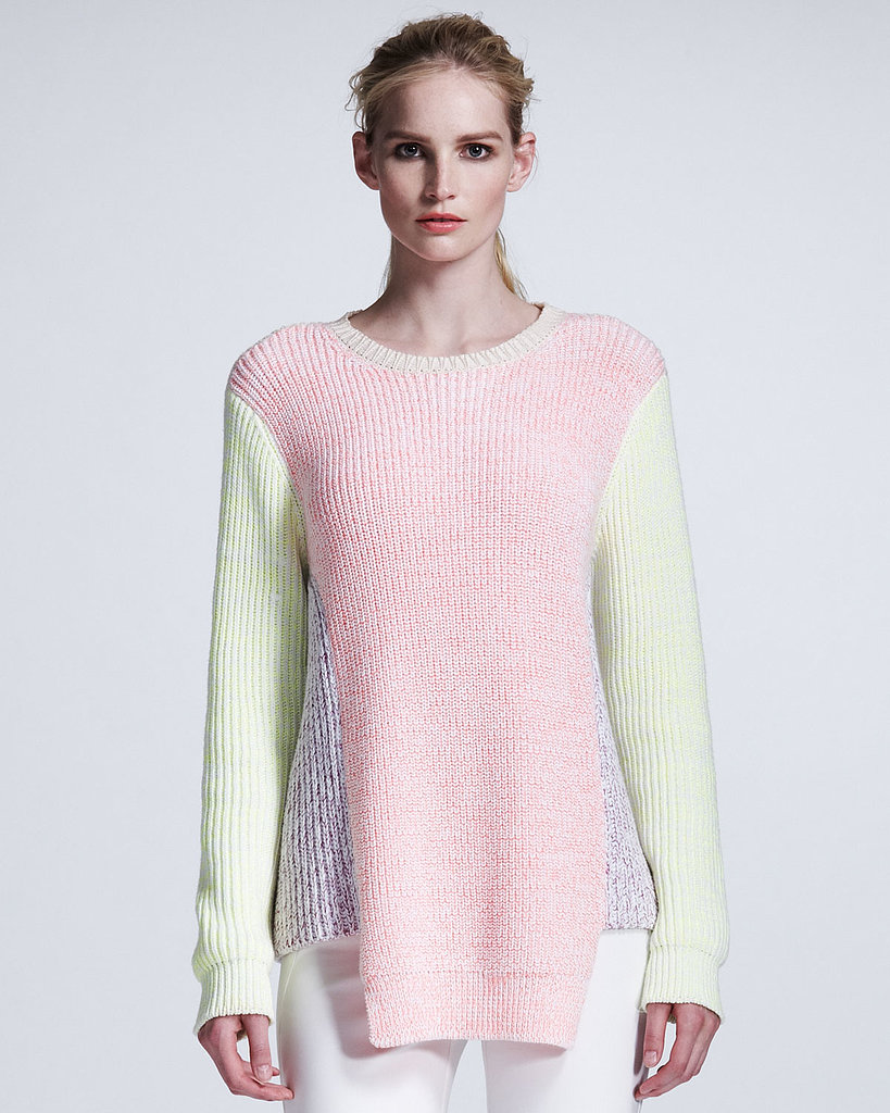 Colorblocking feels even more seasonal when it's cast in pastel-pretty hues. Case in point: this Stella McCartney colorblocked pullover ($860).