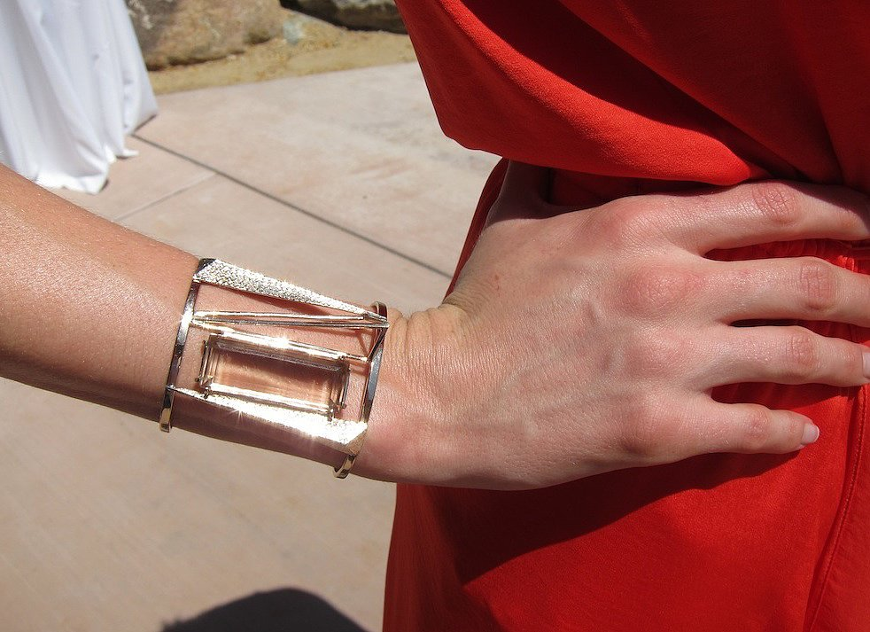 We like the idea of swapping out layers of bracelets for one architectural, statement-making piece.