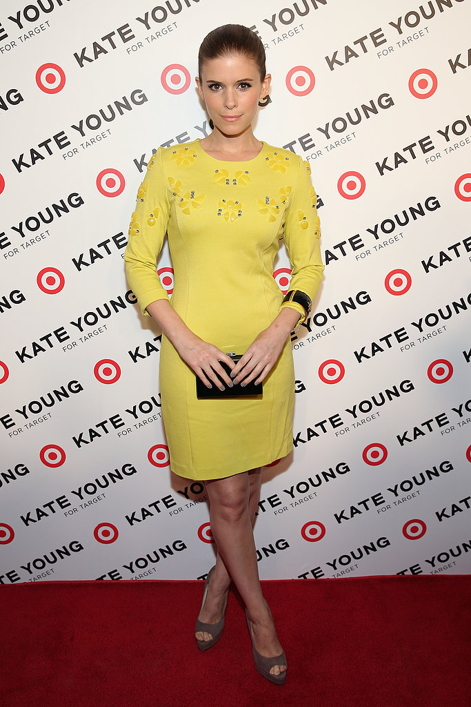 Kate Mara delivered a perfect dose of high-impact color at the Kate Young for Target launch in a dress from the collection.
