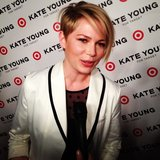 Michelle Williams was sleek in a white tuxedo blazer at the Kate Young For Target launch party.