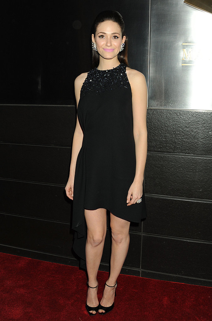 Emmy Rossum chose a subtly sparkly Christian Dior LBD for the New Year's in April Spring dinner dance in NYC.