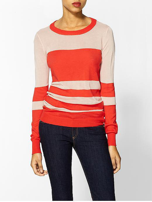 A vibrant poppy hue makes this THML Clothing multistriped crewneck pullover ($50, originally $59) just a little cooler than your average sweaters.