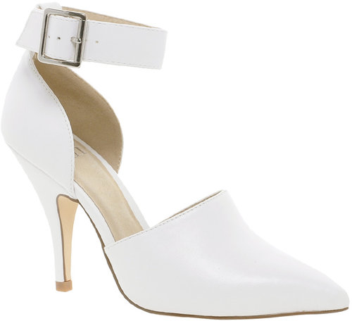 Faith Chanell White Pointed Heeled Shoes